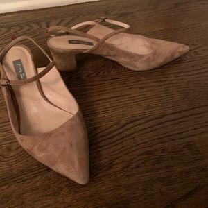 SJP slingback camel suede heels